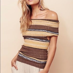 NWOT Free People Carly Cowl Striped Top